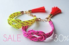 SALE Neon yellow knot rope bracelet with tassel charm via Etsy