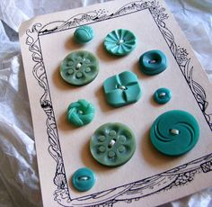 Vintage button card of teals
