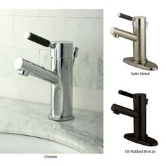 This single-handle straight faucet will improve the overall look of your bathroom. Available in chrome, satin nickel, and oil-rubbed bronze finishes. The lever handle is wrapped in black silicone for easy gripping when turning the faucet on or off.