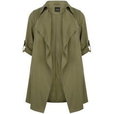 New Look Plus Size Khaki Waterfall Trench Coat (43 CAD) ❤ liked on Polyvore featuring outerwear, coats, jackets, casacos, khaki, waterfall coat, waterfall trench coat, long sleeve coat, longline coat and khaki coat