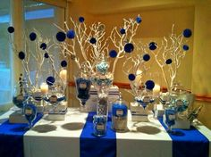 blue and white candy buffet Blue Candy Buffet, Candy Buffet Tables, Party Buffet, Candy Table, Wedding Desserts, Wedding Decorations, Theme Bapteme, 50th Birthday Party, Decoration Table