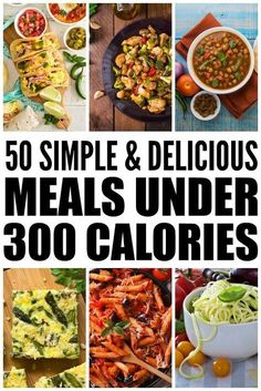 50 Meals Under 300 Calories: How to Lose Weight Without Starving! Lose weight without starving with this collection of 50 meals under 300 calories! These healthy, low carb, and super easy recipes are a cinch to whip up and are delicious to boot! With lots 400 Calorie Meals, No Calorie Foods, Low Calorie Recipes, Easy Recipes, Vegetarian Recipes Under 300 Calories, Low Calorie Vegetarian Meals, 300 Calorie Dinner, 300 Calorie Breakfast, 5 2 Diet Recipes 500 Calories