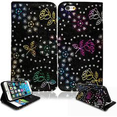 Flip Wallet Leather Case Cover For Apple Iphone 5 5S With Free Screen Protector