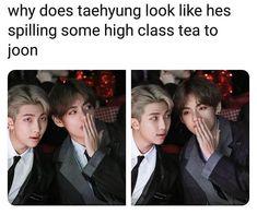 Taehyung: -and they were roommates. Taehyung: -and they were roommates. Namjoon: oh my god they Bts Taehyung, Bts Bangtan Boy, Kim Taehyung Funny, K Pop, Namjin, Boy Band, Vkook Memes, Bts Memes Hilarious, Les Bts