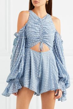 a477333cd41a ALICE MCCALL Did It Again fabulous cutout gathered blue flocked georgette  playsuit - Humble   Rich Boutique