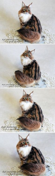 life sized needle felted cat #feltedcat