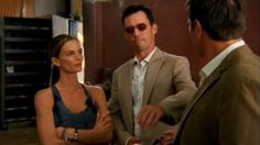 """For a tough guy you sure dress like an Easter egg."" [Agent Jason Bly]   Pictured: Michael Westen (Jeffrey Donovan), Fiona Glenanne (Gabrielle Anwar), and Agent Jason Bly (Alex Carter)"