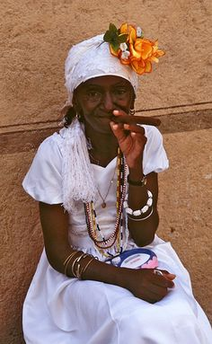 Cuban Santeria woman, I may try this for a fashion inspiration.