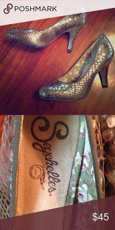 "Seychelles Heels Seychelles Copper Metallic ""Snakeskin"" Heels. Worn but not unwearable. Seychelles Shoes Heels"