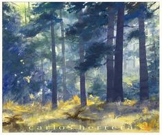 """""""Forest Sunlight."""" A gouache painting by Carlos Herrera. 12x14.5 in."""