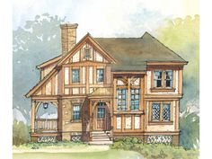 Eplans Tudor House Plan - Elaborate Two-Story Facade - 1331 Square Feet and 2 Bedrooms from Eplans - House Plan Code HWEPL08423