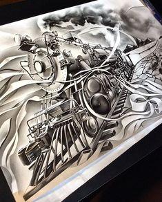 All aboard! #spookdogexpress #thenighttrain #crazytrain #art #artist #artsanity #artgallery #artmagazine #artistsdrop #artdaily #artofvisuals #spotlightonartists #sketch_daily #worldofpencils #pencil #work #mechanicalpencil #train #desert #scenery #create #locomotive #artcollective