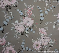 1940's Vintage Wallpaper Gray with Pink Blue and Black floral.
