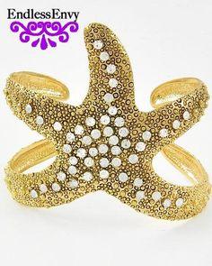 Starfish Cuff Bracelet Crystal Gold Tone Adjustable Jewelry Sea Star #Starfish