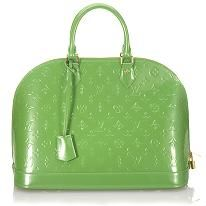 Louis Vuitton Alma MM Handbag. Fun green for spring and summer.