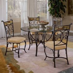 Hillsdale Furniture Pompei Black Gold/Slate Mosaic Dining Set With Rou