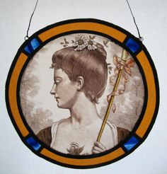 Stained glass Art Nouveau presentation - girl with flowers and parasol?