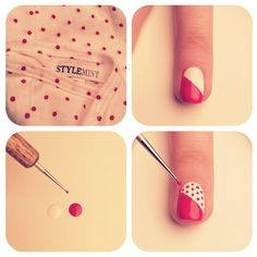 polk dot and stripe manis.. use a straight pin stuck into an eraser for the perfect dot