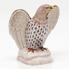 Herend Hand Painted Porcelain Figurine of Eagle on Base w Wings Out Chocolate Fishnet w Gold Accents.