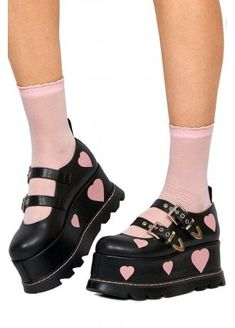 Fall in love with the Pink Heart Mary Jane Platform from Lamoda. These super cute Mary Janes feature two buckle straps, a towering flatform sole and a pretty pink heart print. Mary Jane Outfit, Mary Jane Shoes, Pretty Shoes, Cute Shoes, Me Too Shoes, Aesthetic Shoes, Aesthetic Clothes, Platform High Heels, Platform Boots