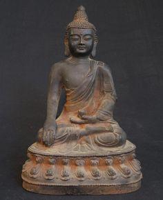 Antique Chinese Buddha [Material: Iron] [30 cm high] [19th century] [Bhumisparsha Mudra] [Originating from China] [Price: 200 euro]