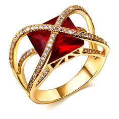 Gold & Platinum Plated, Synthetic Cubic Zirconia & Large Squared Stone Ring