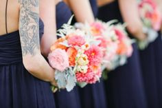 Navy blue & peach/salmon/apricot...  Read more - http://www.stylemepretty.com/2013/06/10/heartstone-ranch-wedding-from-amber-weir-event-design-lane-dittoe/