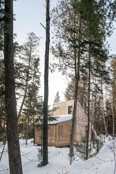 Off-grid 'micro-refuge' re-interprets the classic A-frame cabin Montreal Architecture, La Pointe, Camping Shelters, Cabinet D Architecture, Shelter Design, Off Grid Cabin, Wooden Cabins, Tiny Cabins, A Frame Cabin