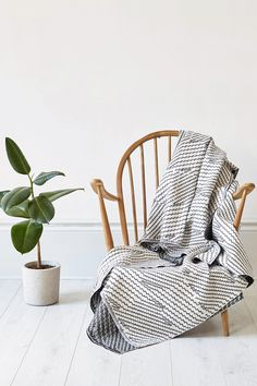 The Step Throw on a vintage Ercol chair. Photographed by Yeshen Venema. Ercol Chair, Weaving Textiles, Jacquard Weave, East London, Wishbone Chair, Accent Chairs, Cushions, Vintage, Furniture