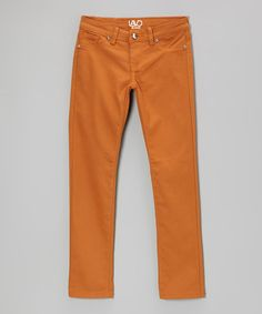 Take a look at this Burnt Orange Twill Pants by Lavo Collections on #zulily today!