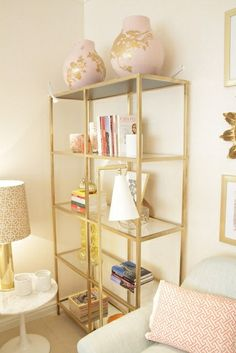 This Bookshelf Is The Ikea Vittsjo Shelf Spray Painted Gold And With Added Mirrors For Bottom Top Shelves Design Office House Interior