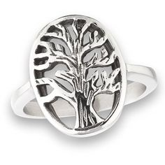 316L Stainless Steel Oval Filigree Tree of Life Ring, Size 5