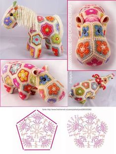 Crochet animals 788833690969112107 - Crochet Granny Square Animal African Flowers 65 Ideas For 2019 Source by josettejonneauxsls Crochet Hippo, Crochet Unicorn, Crochet Patterns Amigurumi, Crochet Dolls, African Flower Crochet Animals, Crochet Flower Hat, Crochet Motifs, Crochet Granny, Crochet Gifts