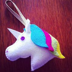 Rainbow Unicorn felt decoration. Ornament Magnet by JBLovecraft