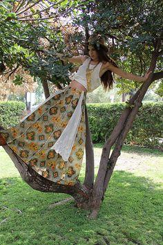 70s Vintage Skirt MAXI CROCHET Boho by TatiTatiVintage on Etsy, $128.00
