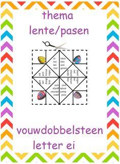 Vouwdobbelsteen metter ei Spelling, Maya, Stage, Doodles, Easter, Teaching, Logos, Cards, Crowns