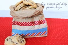 Washi tape turns plain brown bags into festive treat bags for chips, cookies, popcorn, etc.