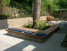 Rain and snow are going to play a huge part in your yard landscaping decisions. For example you will have to plan for your yard landscaping with care. These yard lan Front Yard Landscaping, Backyard Landscaping, Landscaping Ideas, Sloped Backyard, Backyard Ideas, Inexpensive Landscaping, Pool Ideas, Tree Bench, Bench Around Trees