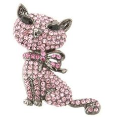 Butler and Wilson Cute Crystal Cat Brooch Pink