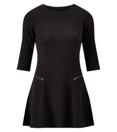 """From workwear to evening looks, this little black dress is a key wardrobe investment this season. Add monochrome courts to finish.- 3/4 sleeves- Double zip front detail- Rounded neckline- Fit and flare design- Soft fabric- Model is 5'8""""/176cm and wears UK 10/EU 38/US 6"""