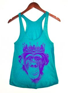Purple Royal Monkey American Apparel Teal by ThereIsNoBody on Etsy, $22.00