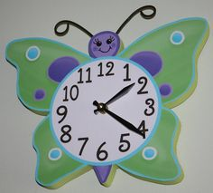 Daisy Lilac Butterfly Wooden WALL CLOCK Girls by ToadAndLily, $45.00