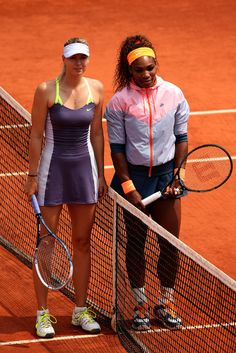 Maria Sharapova and Serena Williams at 2013 French Open Women's Final, June 2013. Sugapova didn't stand a chance and went on to change coaches, her name anything to help