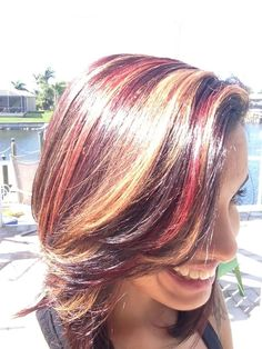 Red and Carmel highlights on dark brown hair i need thoughts people Red Brown Hair, Brown Hair With Highlights, Blonde Highlights, Carmel Highlights, Dark Brown, Funky Hairstyles, Different Hairstyles, Funky Hair Colors, Colorful Hair