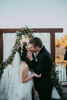 You may kiss the bride!  #ido #married #weddinggoals #youmaykissthebride #kissthebride #bride #arizonabride #arizonawedding #lakewedding #ceremony #ceremonyinspo #weddinginspiration