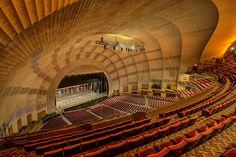 Radio City Music Hall Interior | photo Architecture Design, Acoustic Architecture, Theatre Architecture, Pavilion Architecture, Hall Interior, Interior Photo, Concert Stage Design, Theatrical Scenery, Auditorium Design