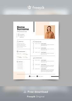 Modern Cv Template, Job Resume Template, Resume Design Template, Free Creative Resume Templates, Curriculum Vitae Template Free, Cv Curriculum, Curriculum Design, Graphic Design Cv, Graphic Resume