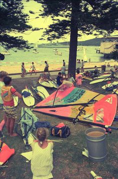 Waiting to start - Windsurfing Pioneers also on facebook and Twitter - Vintage old retro Windsurfing