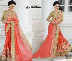 Deep Peach and Golden Embroidered Saree