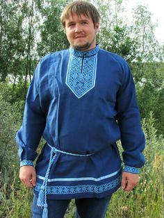 """Купить Рубаха славянская """"Святогор"""" синяя - русская вышивка, Вышивка крестом, вышивка крестиком"""